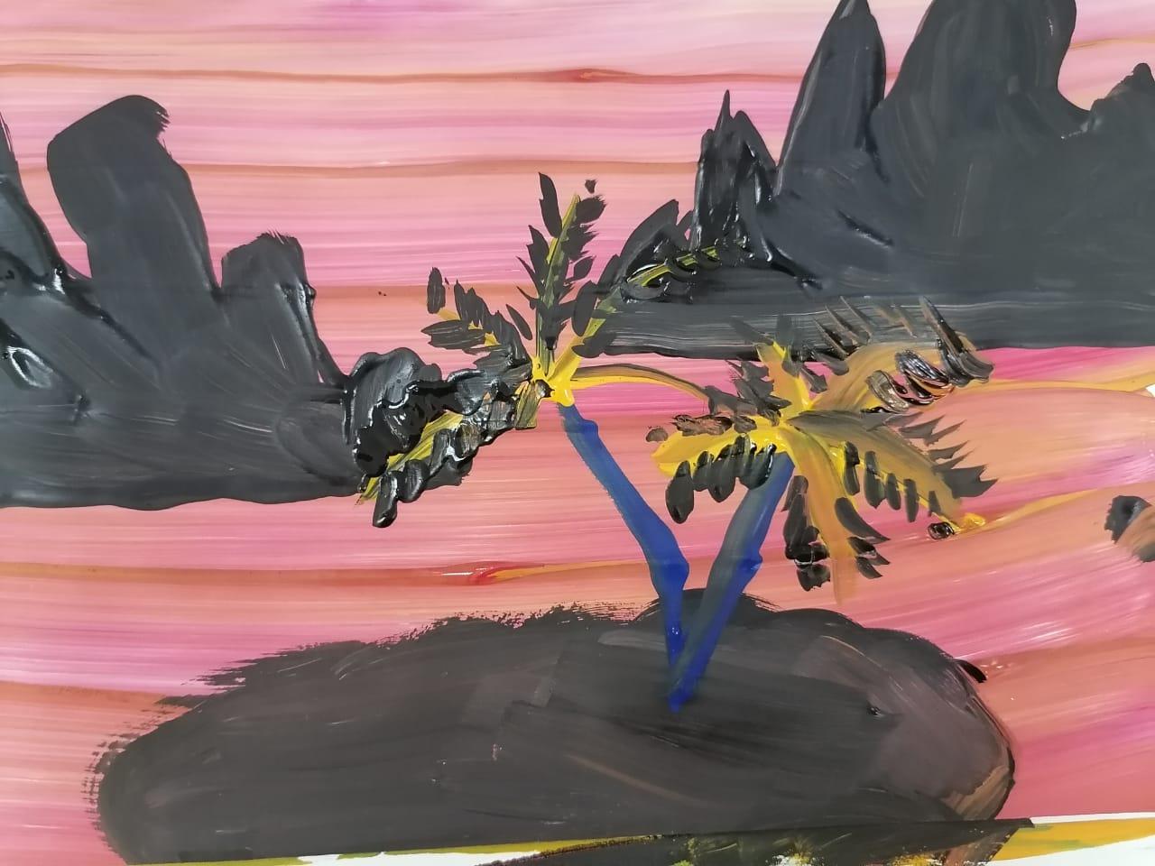 акварельный рисунок с пальмами