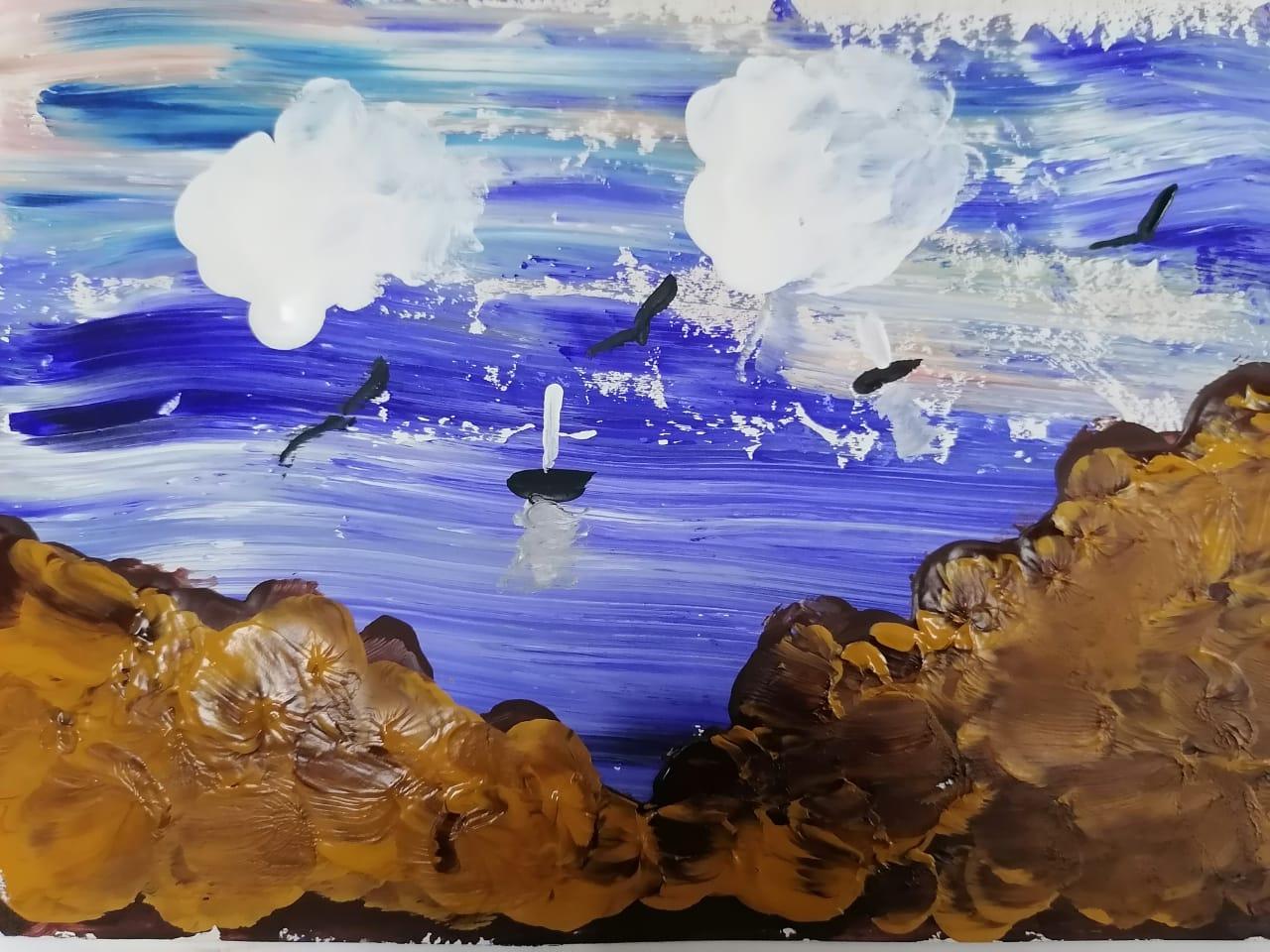 акварельный рисунок с морем и скалами