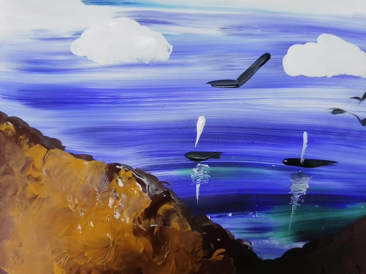 морской пейзаж акварелью