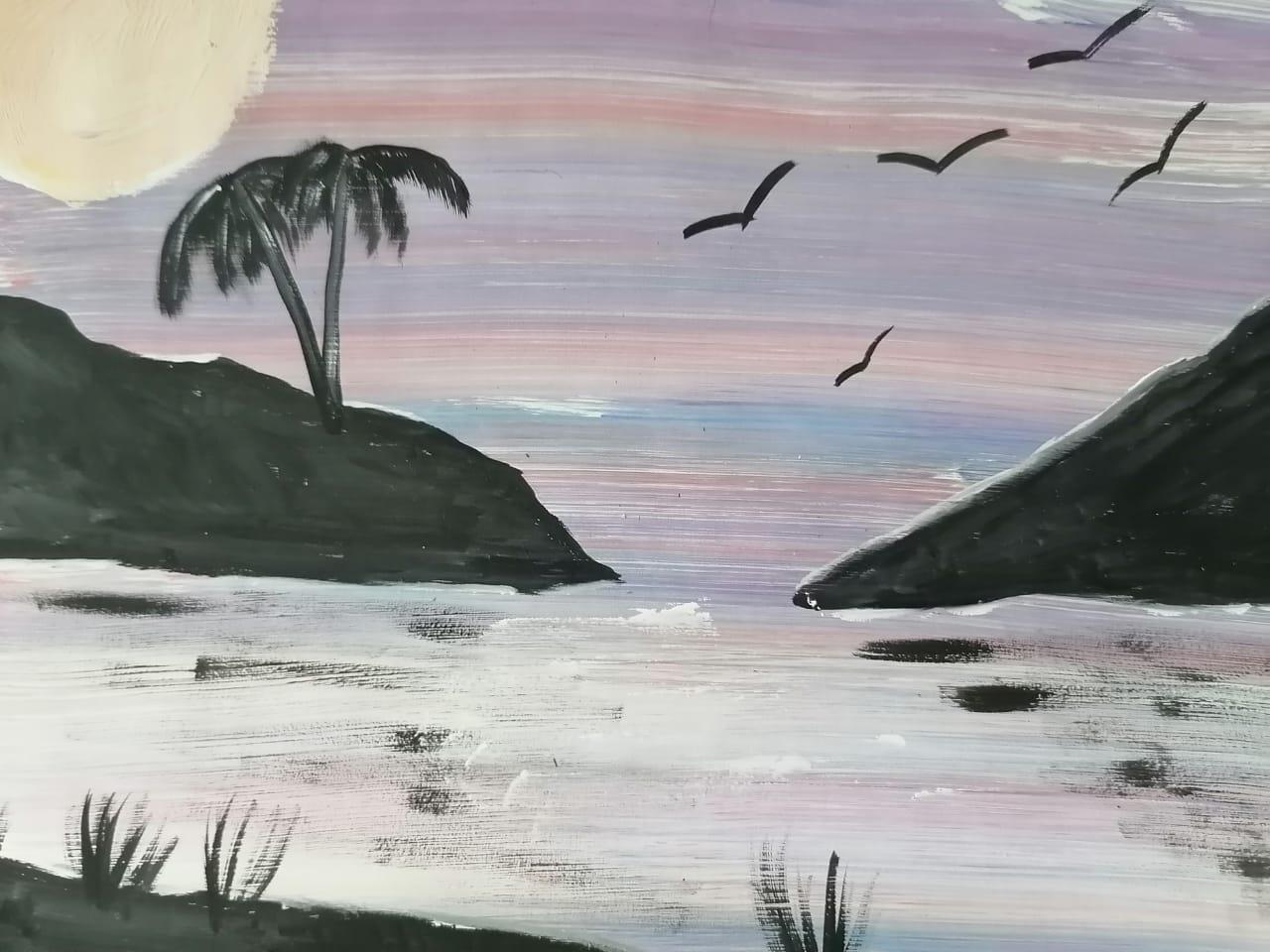 пейзаж с пальмами и морем